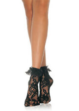 80s Fancy Dress Black Lace Ruffled Ankle Socks