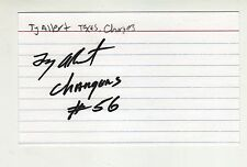 TY ALLERT TEXAS UNIVERSITY SAN DIEGO CHARGERS AUTOGRAPHED INDEX CARD