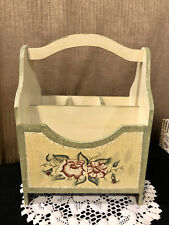 Shabby~Chic~Decor~Wood~Cr ackled~Paint~Utensil~Caddy ~Flatware~&~Napkin~Sto rage~Mt