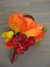 Fall Wedding Burgundy Wine Orange Silk Rose Flower Berries Boutonniere