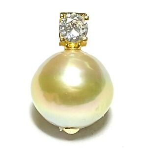 Stunning AAA+ Luster 14mm Natural Gold Australia South Sea Round Pearl Pendant