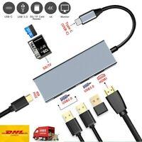 USB-C Hub 6 in1 Aluminium USB 3.1 Gen1 Typ C Zu 4K HDMI Adapter Hub SD/TF Video