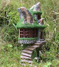 Energie solaire deco jardin ornement fairy tree house change couleur