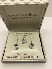 Sparkle Allure Silver Plated Swarovski Marcasite Boxed Jewelry Set