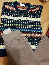 Crazy 8 Boys Navy Patterned Sweater and Tan Corduroys Nwt size 3T