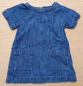 NEXT Baby Girls Blue Denim Short Sleeve Dress Cotton 3 - 6 Months 100% Cotton