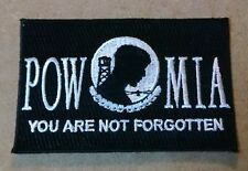 POW MIA You Are Not Forgotten Flag Style Embroidered Biker Patch
