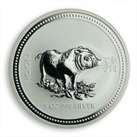 Australia 8 Dollars Year of the Pig Lunar Series I 5 Oz Silver Coin 2007