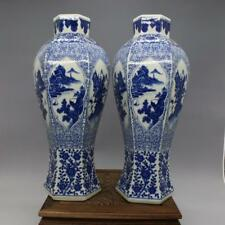 Qing dynasty blue and white porcelain goddess of mercy bottle a pair of landscap