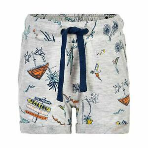Minymo Jungen kurze Sweathose / Shorts in grau melange mit Beach Print Gr. 104