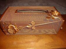 Tissue Kleenex Box ~Cover Holder Gold Metal Mesh Roses Hollywood Regency....2/19
