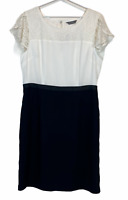 BNWT Jacqui E Womens White/Black Short Sleeve Lined Dress Size 16 RRP$149.95