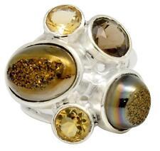 Titanium Druzy Quartz,Citrine  Ring Solid 925 Silver Jewelry Size 6.5 IR32466