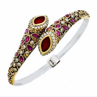 Turkish Handmade 925 Sterling Silver Authentic Ruby Ladies Womans Bracelet 1029