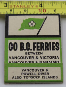BC Ferries Vintage Matchbook Cover Vancouver to Victoria Nanaimo Gulf Islands