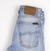 Nudie Jeans Femmes Étroit Lin Jeans Extensible Taille W25 L30 AOZ191