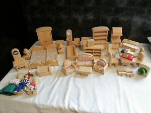 PLAN TOYS WOODEN DOLLS HOUSE FURNITURE AND DOLLS LARGE LOT