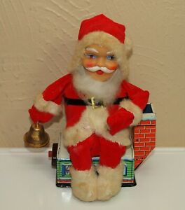 """Vtg Xmas SANTA CLAUS Sitting on Rooftop House 8"""" Tin Toy Battery Non-Working"""