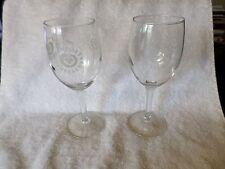 "2 Newport Vineyards Souvenir Wine Glasses 6 5/8"" Pair 1980's-90's Rhode Island"
