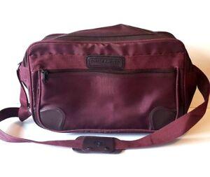 "Pierre Cardin Purple Maroon Canvas 15"" Carry-on Bag Luggage w/ Strap"