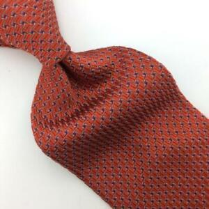Banana Republic Tie Orange Gray Woven Linked Waves Silk Necktie Men I15-375/F