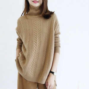 Womens 100% Cashmere High-Neck Sweater Long Sleeve Knitwear Thick Outwear Blouse