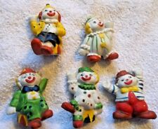 CERAMIC CLOWNS BIRTHDAY CANDLE HOLDERS VINTAGE (A)