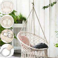 Macrame Hammock Swing Chair Beige Hanging Cotton Rope Home Garden Seat Full Set