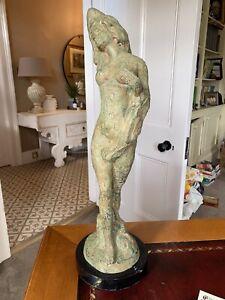 Bronze Figure Verdigris Finish Excellent Condition