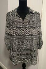 Gloria Vanderbilt Black White Sheer top shirt blouse size Medium Button Down NWT