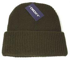 DECKY Skull Cap Cuff Beanie Cuffed Hat Olive NWT