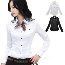 Ladies Blouse Womens office Shirt Vintage long sleeve smart Top Size Winter tata