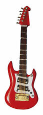 1:12th Scale Wooden Red Guitar & Black Case Dolls House Miniature Instrument 155