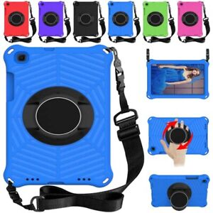 Shockproof Rotating Stand Case Cover w Shoulder Strap For Samsung Galaxy Tablet