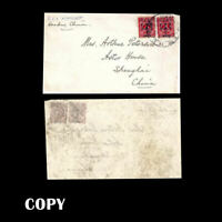 CHINA  1897  Red Revenue 2 - 2c on 3c Surcharge - Front- U.S.S. Monocacy  COPY