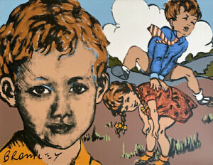 "Large DAVID BROMLEY hand-signed Giclee ""Leapfrog"""