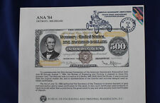 1984 Bep B71 1872 $500 Gold 93rd Ana Conv Cancelled Detroit Souvenir Card E3196