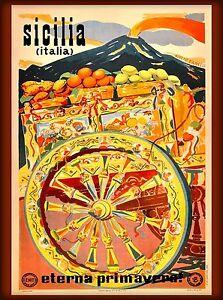 Sicilia europe Italy Vintage painting artTravel Poster Print  Glass Frame 90cm
