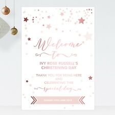 Welcome Sign Christening Birthday Baptism Rose Gold Effect & Pink Stars (ST13)