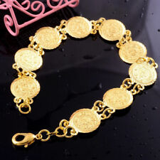 "Exquisite Coin Shape 14k Yellow Gold Filled Engagement Bracelet Chain 8"" Jewelry"