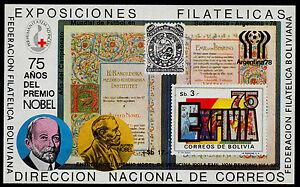 BOLIVIA, MICHEL # BLK78 MINI SHEET OF ALFRED NOBEL, SOCCER, RED CROSS, FOOTBALL