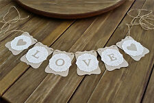 LOVE Wedding/Engagement banner-doilies- bunting flags/garland decoration - sign