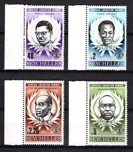 Seychelles 1979 SPECIMEN Liberation Heroes Lumumba Nkruhma Mi. 435-8 ** UMM