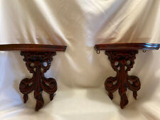 Pair of Large Custom Handcarved Solid Wood Wall Sconce Shelves