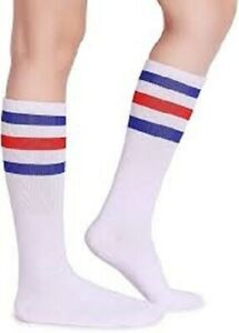 BLUE RED WHITE TRIPLE STRIPE UNISEX 80% COTTON  CALF SOCKS, SIZE 5 - 11 (122)