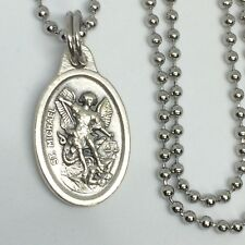 St Michael Archangel Angel Necklace 24 inch Stainless Steel Ball Link Chain