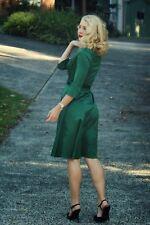 Stunning DARK EMERALD GREEN SATIN DRESS Evening Vintage 40s 50s 10 Party SML