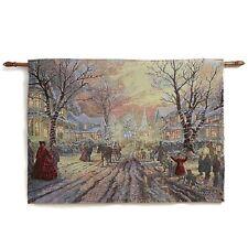 Thomas Kinkade Fiber Optic Wall Tapestry - Victorian Christmas/Hometown Memories