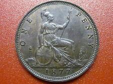 "British Penny 1877  Victoria Bun Head  ""EXTREMELY HIGH GRADE"" (877)"