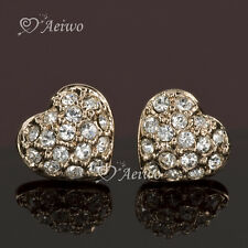 9K GF 9CT ROSE GOLD FILLED MADE WITH SWAROVSKI CRYSTAL HEART STUD EARRINGS SMALL